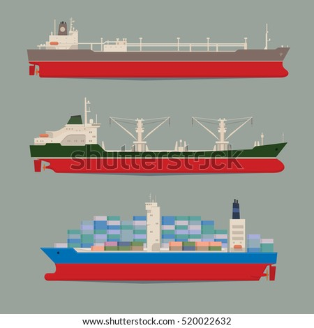 Cargo ships. Oil tanker, bulk carrier, container ship. Commercial vessels. Goods delivering business industry. Freight ships side view isolated. Vector illustration