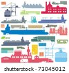 Cargo supply chain and transportation means color vector outline illustration set - stock vector