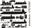 Cargo supply chain vector illustration set - stock photo