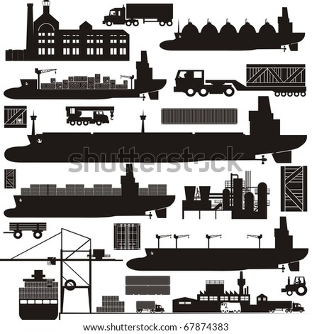 Cargo supply chain vector illustration set