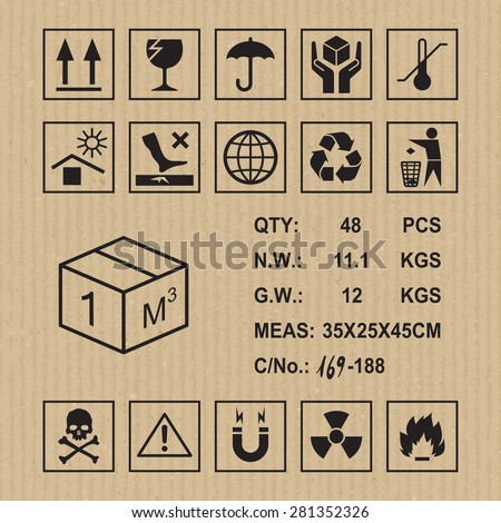 Cargo symbols on cardboard texture. Handling, packing and caution signs - stock vector