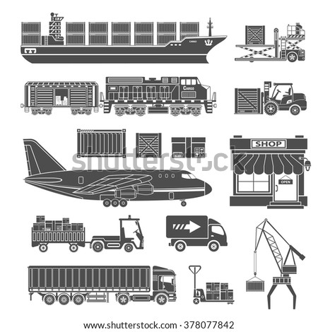 Cargo Transport and Packaging Icon Set such as Truck, Plane, Train, Ship. Vector for Brochure, Web Site and Printing Advertising on theme delivery of goods. - stock vector
