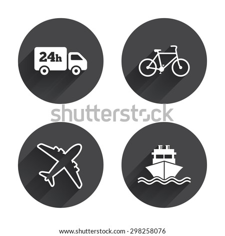 Cargo truck and shipping icons. Shipping and eco bicycle delivery signs. Transport symbols. 24h service. Circles buttons with long flat shadow. Vector - stock vector
