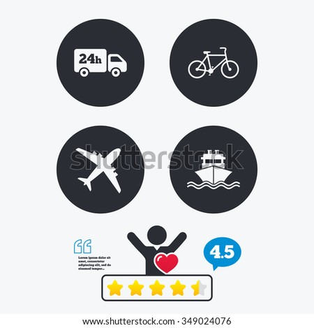 Cargo truck and shipping icons. Shipping and eco bicycle delivery signs. Transport symbols. 24h service. Star vote ranking. Client like and think bubble. Quotes with message. - stock vector