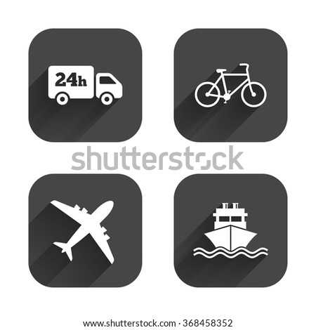 Cargo truck and shipping icons. Shipping and eco bicycle delivery signs. Transport symbols. 24h service. Square flat buttons with long shadow. - stock vector