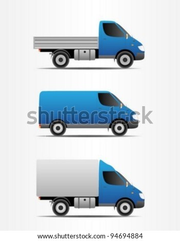 Cargo truck,bus and pickup truck - stock vector