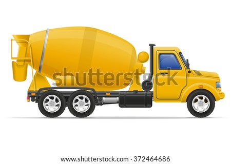 cargo truck concrete mixer vector illustration isolated on white background - stock vector