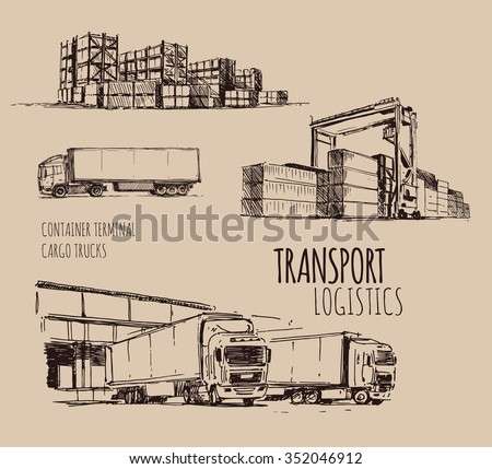 Cargo truck. Warehouse. Hand drawn sketch illustration - stock vector