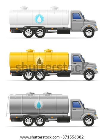 cargo truck with tank for transporting liquids isolated on white background - stock vector