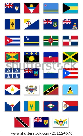 Caribbean Countries Flags Set. Vector
