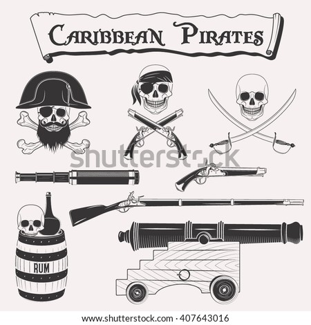 Caribbean pirates drawings set. Symbols of piracy - pirate hat, swords, weapons, black flag, cannon, jolly roger emblem, skull and crossbones elements - stock vector