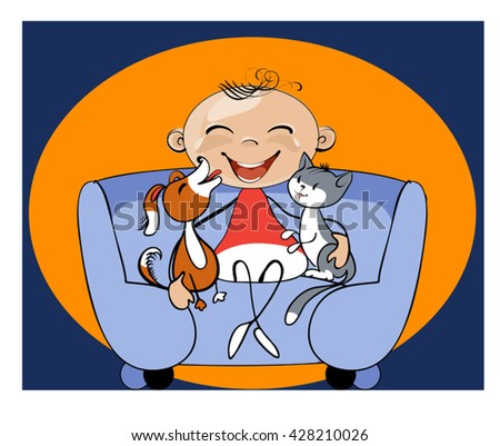Caricature funny kid who is sitting on the couch with his pets - stock vector