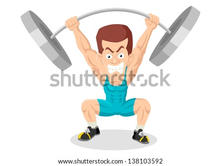 Caricature illustration of a weightlifter - stock vector