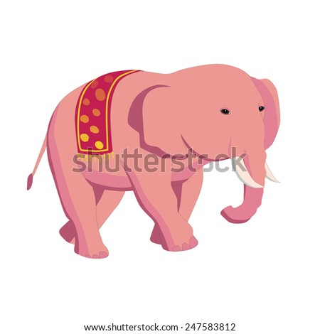 Caricature of an female elephant walking and looking away.  vector illustration.