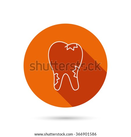 Caries icon. Tooth health sign. Round orange web button with shadow. - stock vector