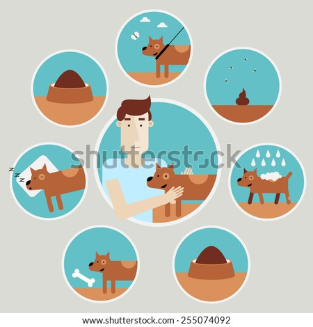 Caring for a dog. Info-graphics design elements. Walking dog, taking a bath, food, cleaning, play. Isolated vector illustration. Flat design. - stock vector