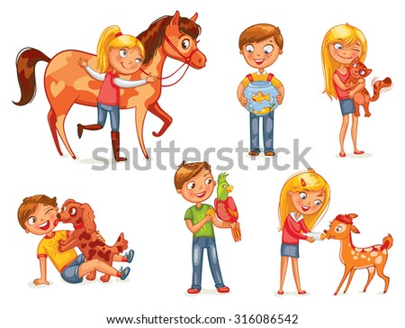 Caring for animals. Dog licking boy's face. Girl hugging a kitten. Girl fawn feeding bottle of milk. Jockey patting a horse. Funny cartoon character. Vector illustration. Isolated on white background - stock vector