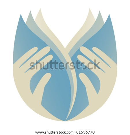 Caring hands holding leaves. - stock vector