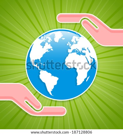 Caring hands with planet Earth on green background with rays - stock vector