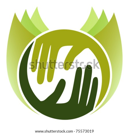 Caring nature hands. - stock vector