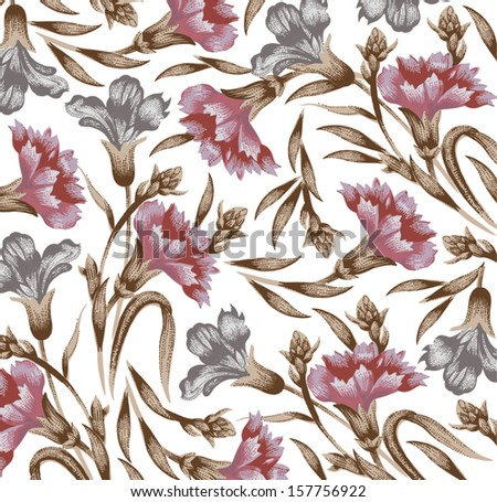 Carnation. Classic pattern. Beautiful pink flowers. Vintage background with blooming flowers. Drawing, engraving. Freehand. Wallpaper. Vector victorian style Illustration.