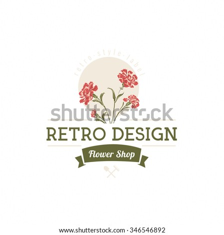 Carnation flowers Hand Drawn Design Element in Vintage Style for Logotype, Label, Badge and other design. Flower shop retro vector illustration. - stock vector