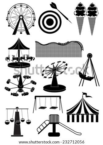 carnival amusement park icons set - stock vector