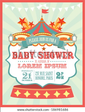 carnival baby shower invitation card template vector/illustration - stock vector