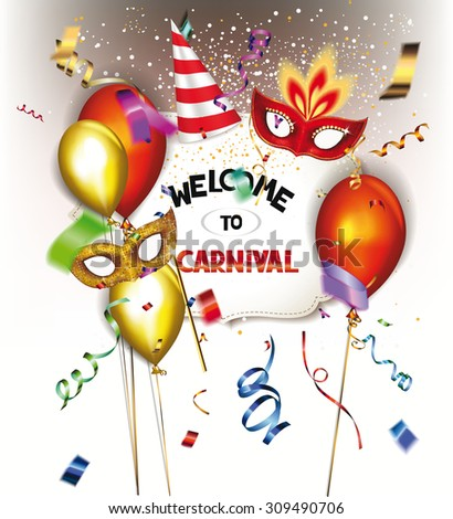 Carnival background with masks, confetti and air balloons - stock vector