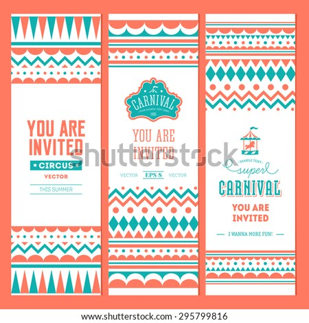 Carnival banner collection. Circus ticket. Birthday poster. Invite. Vector illustration - stock vector