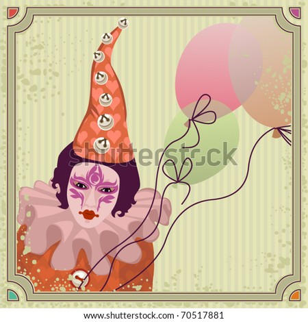 carnival clown with balloons - stock vector
