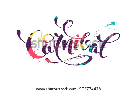 carnival colorful calligraphic lettering poster colorful stock