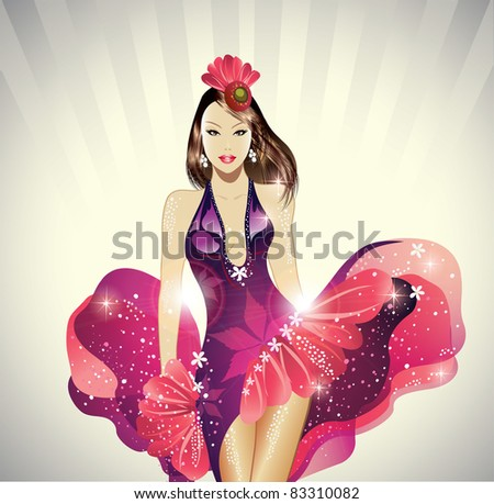 Carnival Dancer in Glamorous Dress - stock vector