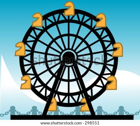 Carnival Ferris wheel vector - stock vector