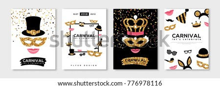 Carnival gold and black posters set, flyer or invitation design. Vector illustration. Funfair funny tickets design with pattern and emblem. Place for your text message.