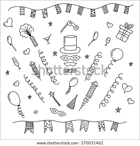 Carnival hand drawn symbols collection - masks, party decorations. Mardi gras, purim, carnaval, fastnacht. Carnival decorative elements. - stock vector
