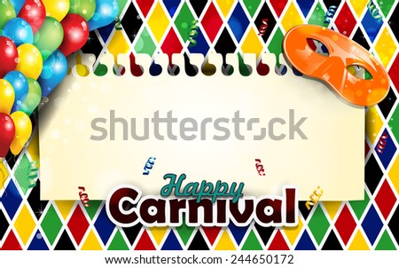 Carnival harlequin background balloons and confetti-With sheet where you can enter your own text-Transparency blending effects and gradient mesh-EPS 10 - stock vector