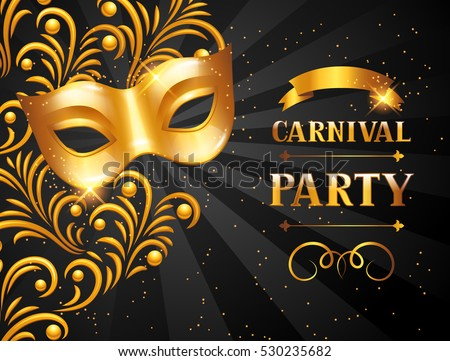 Carnival invitation card with golden mask. Celebration party background.