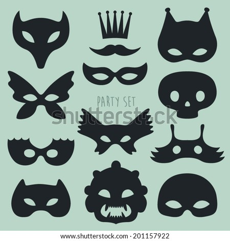 carnival mask and disguises vector illustration  - stock vector