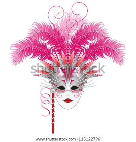 Carnival mask - Venetian or Mardi Gras masquerade mask.  Isolated.