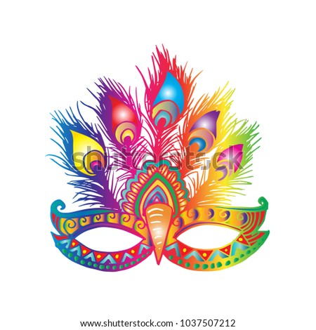 carnival mask feathers stock vector royalty free 1037507212