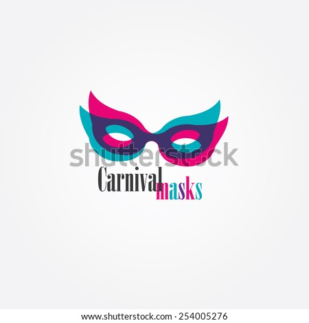 carnival masks logo element with transparent color overlay effect - stock vector