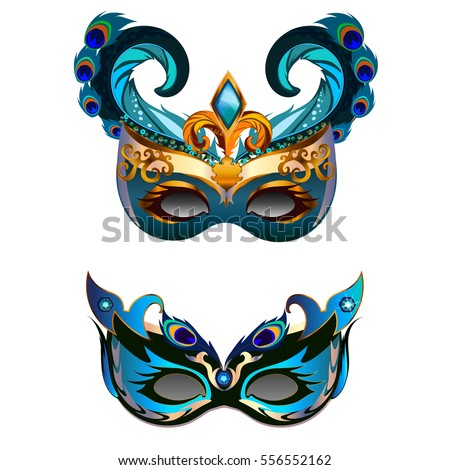 carnival masks set feather isolated on stock vector royalty free