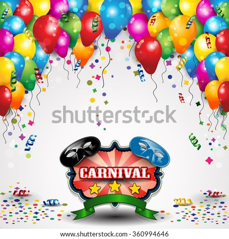Carnival masks with balloons and confetti for parties-transparency blending effects and gradient mesh-EPS10 - stock vector