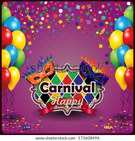 Carnival masks with balloons and confetti for parties with space to insert your text-transparency  blending effects and gradient mesh-EPS10 - stock vector