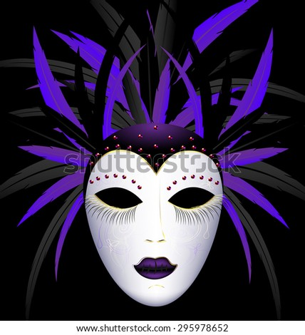 carnival purple dark mask - stock vector