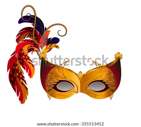 Carnival Venetian mask decorated with orange, brown and blue feathers. The mask decorated with golden pattern.