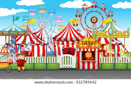 Carnival with many rides and shops illustration - stock vector