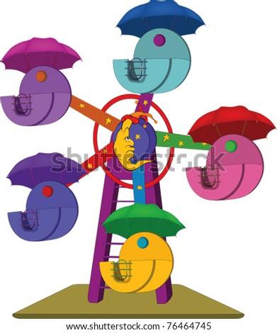 Carousel. Cartoon - stock vector