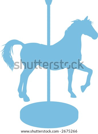 Carousel Horse is a silhouette of a carousel horse. - stock vector